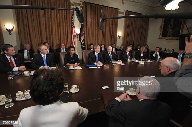 S President George W Bush speaks during a meeting with his cabinet US Secretary of Health and Human Services Mike Leavitt Secretary of the Interior...