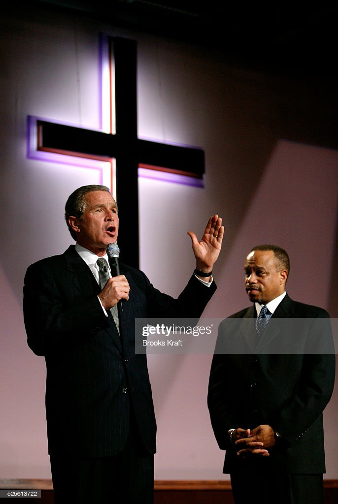 President George W Bush speaks during a tribute to the life and legacy of slain civil rights leader Martin Luther King Jr at the First Baptist Church...
