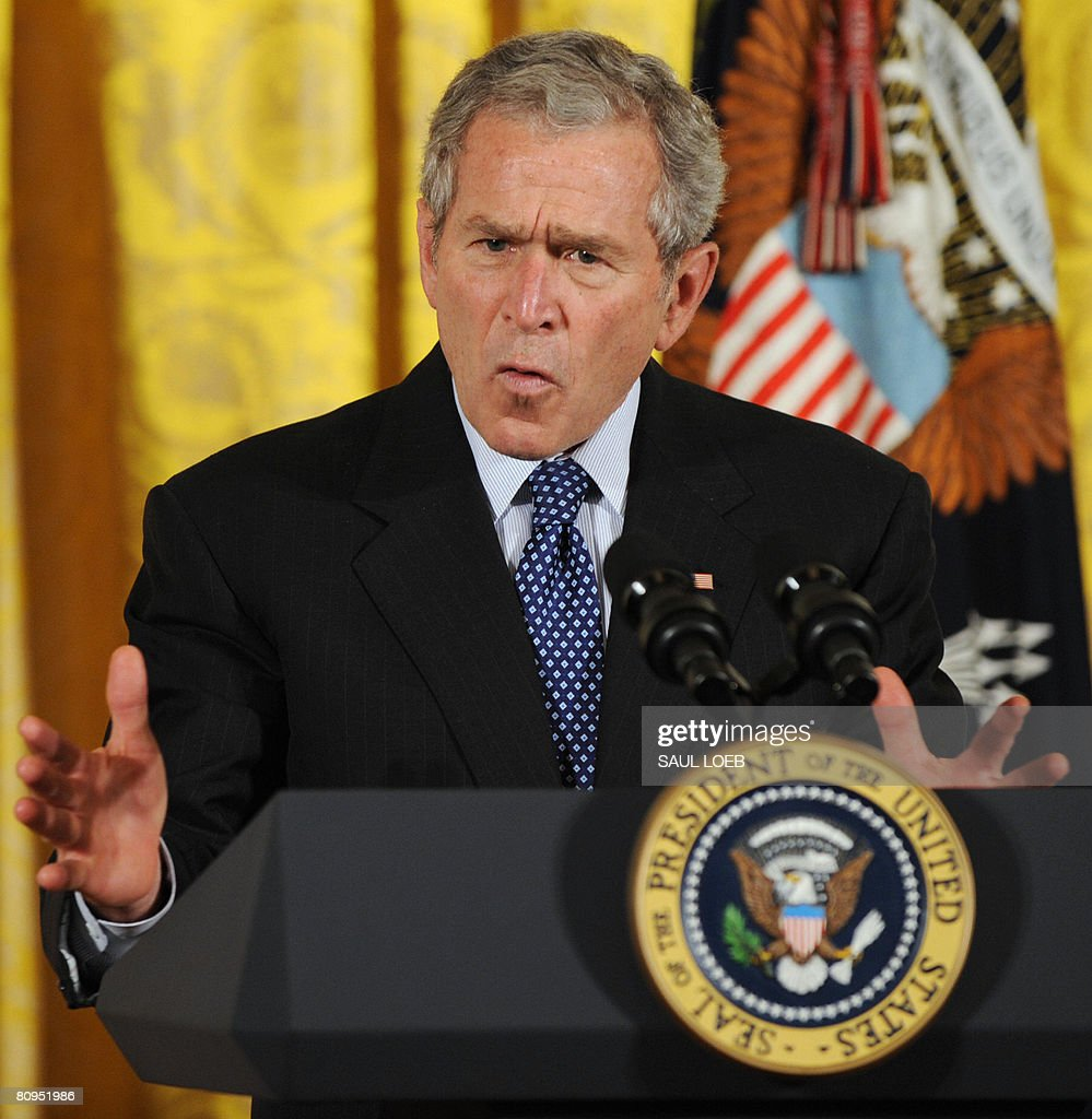 US President <a gi-track='captionPersonalityLinkClicked' href=/galleries/search?phrase=George+W.+Bush&family=editorial&specificpeople=122011 ng-click='$event.stopPropagation()'>George W. Bush</a> speaks during an event celebrating Asian Pacific American Heritage Month in the East Room of the White House in Washington, DC, on May 1, 2008.