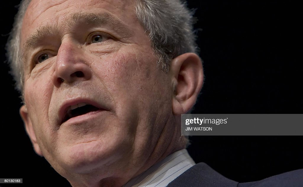 US President <a gi-track='captionPersonalityLinkClicked' href=/galleries/search?phrase=George+W.+Bush&family=editorial&specificpeople=122011 ng-click='$event.stopPropagation()'>George W. Bush</a> speaks during the Washington International Renewable Energy Conference at the Washington Cenvention Center in Washington, DC, on March 05, 2008. AFP PHOTO/Jim WATSON
