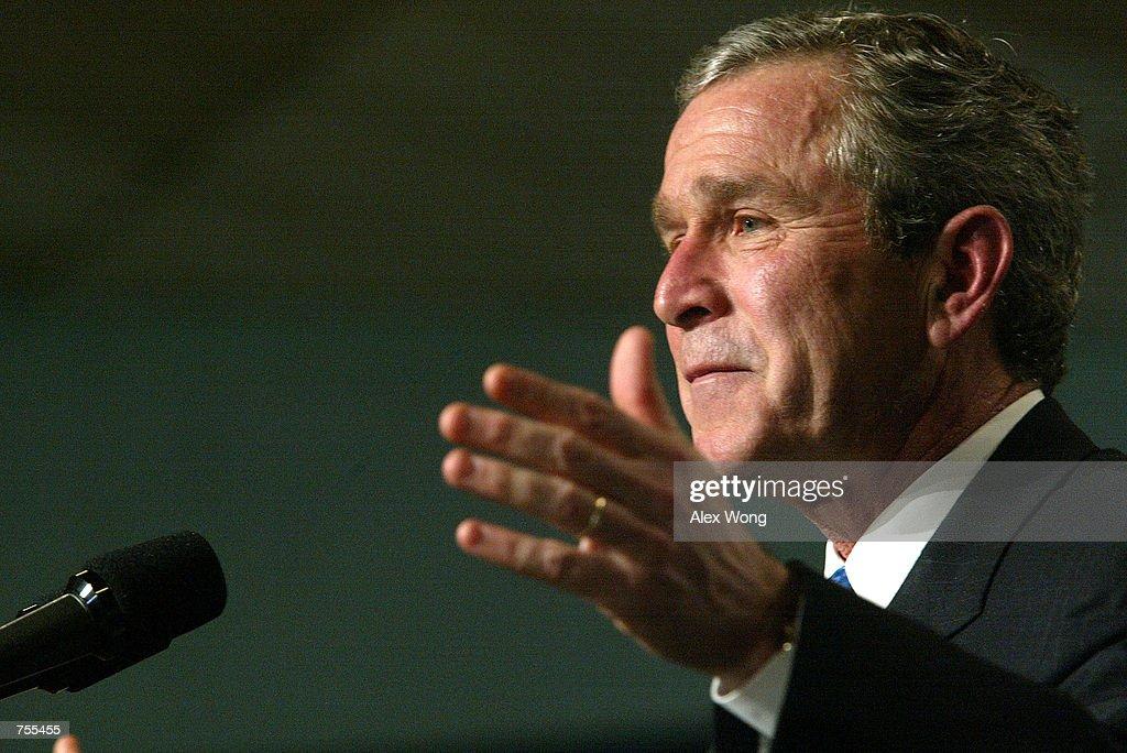 S President George W Bush speaks February 26 2002 during a meeting at St Luke's Catholic Church in Washington DC President Bush proposed revamping...