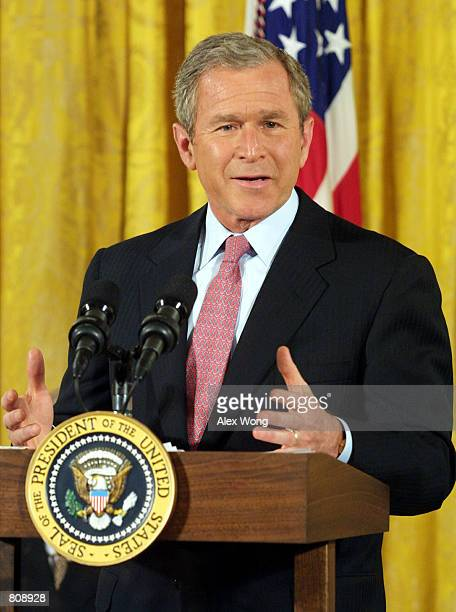 President George W Bush speaks May 3 2001 during the 50th anniversary of the National Day of Prayer event at the White House in Washington D C
