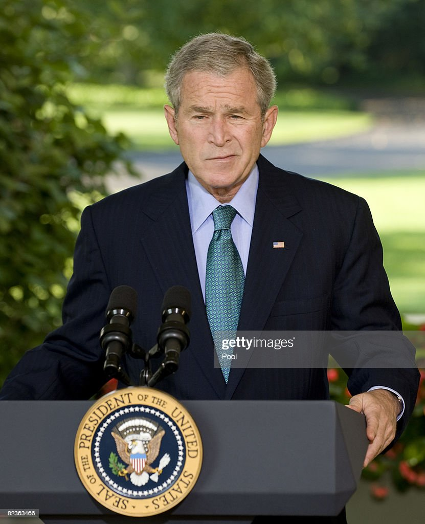 U.S. President <a gi-track='captionPersonalityLinkClicked' href=/galleries/search?phrase=George+W.+Bush&family=editorial&specificpeople=122011 ng-click='$event.stopPropagation()'>George W. Bush</a> speaks on the military and political situation in Georgia outside the Oval Office at the White House on August 15, 2008 in Washington, D.C. Before traveling to his Crawford, Texas ranch.