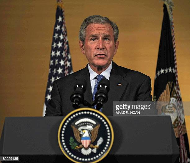 US President George W Bush speaks on the situation in Georgia during a press conference on August 09 2008 at a hotel in Beijing Bush who is in the...