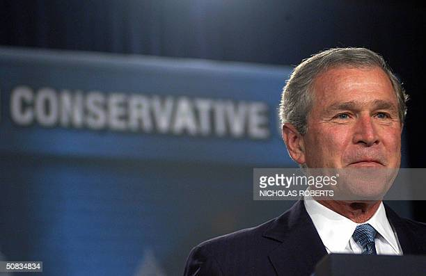 President George W Bush speaks to a gathering of the American Conservative Union at the JW Marriott Hotel in Washington DC 13 May 2004 Bush spoke...