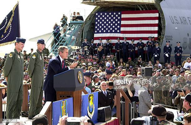 S President George W Bush speaks to an audience October 20 2001 at Travis Air Force Base CA President Bush will embark on his first trip overseas...