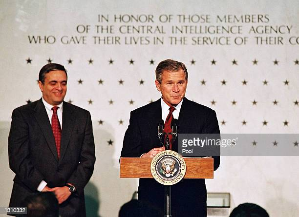President George W Bush speaks to employees of the Central Intelligence Agency March 20 2001 at the CIA Headquarters in Langley Virginia Bush is...