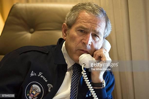 S President George W Bush speaks to Nigeria's President Olusegun Obasanjo from aboard Air Force One May 6 2006 Bush spoke to Obasanjo regarding the...