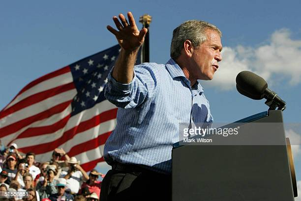 S President George W Bush speaks to supporters during a rally at Alamogordo High School October 24 2004 in Alamogordo New Mexico Recent polls show...