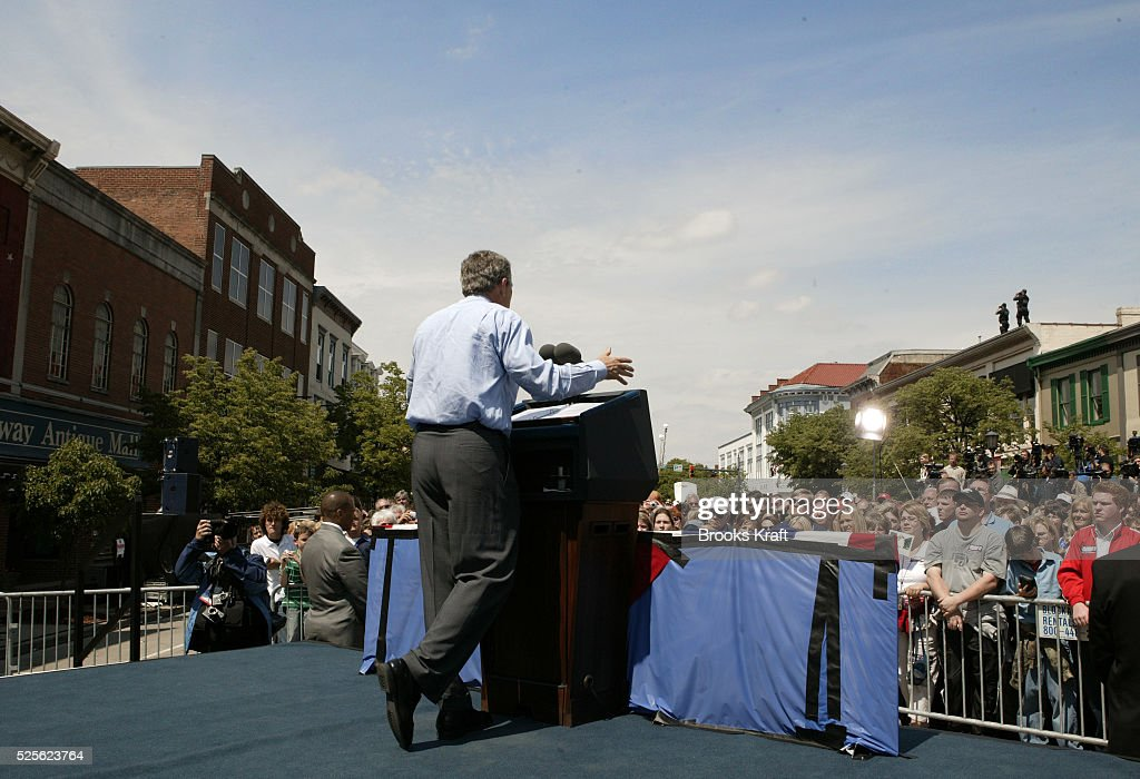 President George W Bush speaks to supporters in Lebanon Ohio during a campaign stop Bush was on an early twoday midwest campaign swing in Ohio and...