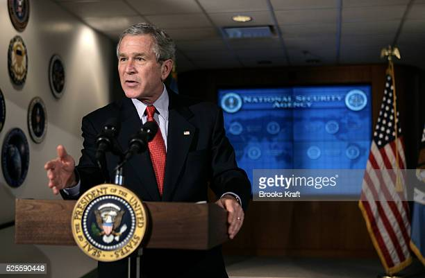 US President George W Bush speaks to the media during his visit to the National Security Agency at Fort Meade President Bush visited the ultrasecret...