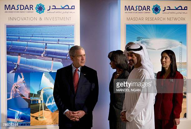 US President George W Bush takes part in a tour of the Masdar Energy Initiative Exhibition with Condoleezza Rice Abu Dhabi Crown Prince Sheikh...