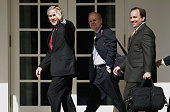 President George W Bush walks back to the Oval Office with his Deputy Chief of Staff Karl Rove and Press Secretary Scott McClellan April 19 2006 Rove...