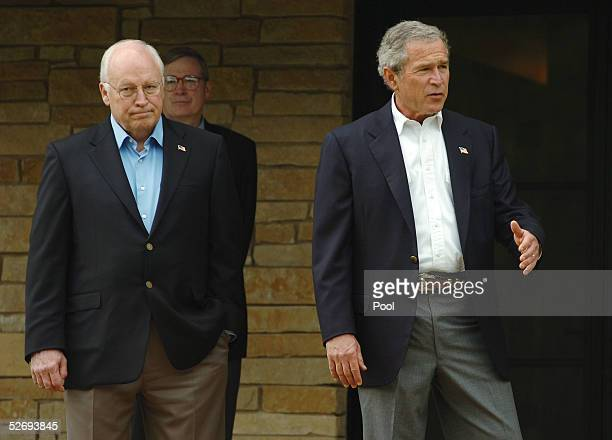 S President George W Bush walks out of his private office with Vice President Dick Cheney before meeting with Saudi Crown Prince Abdullah on his...