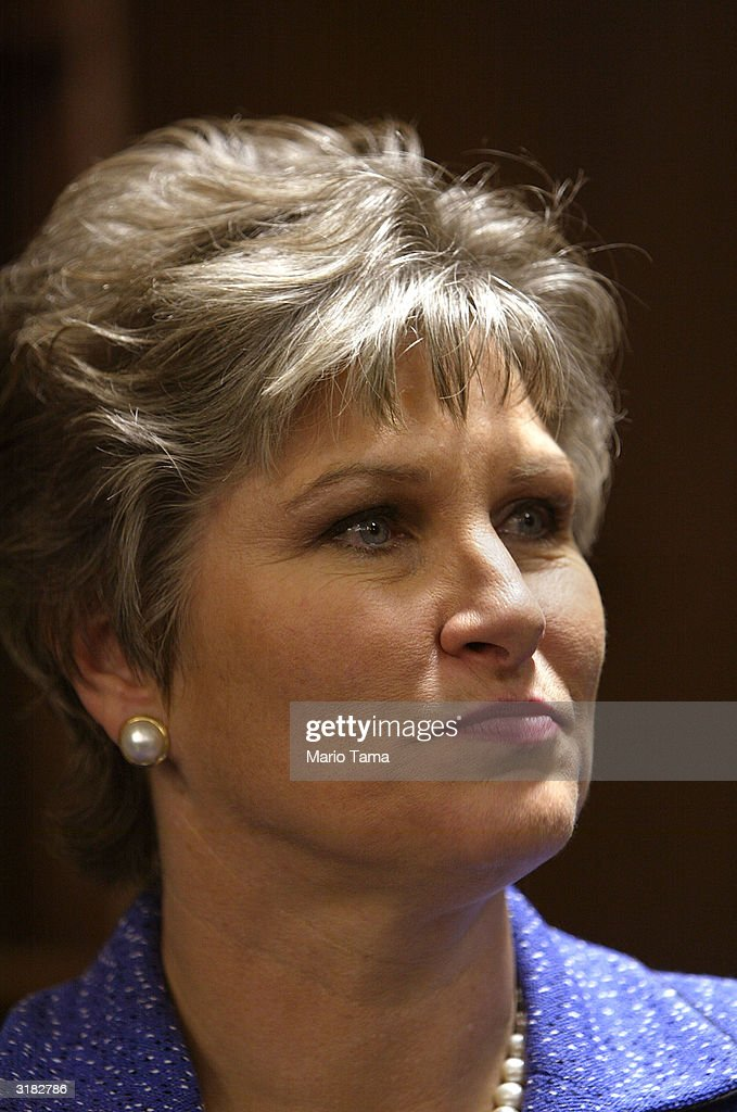 President George W Bush's longtime counselor Karen Hughes prepares to speak about her new book 'Ten Minutes from Normal' March 31 2004 in New York...