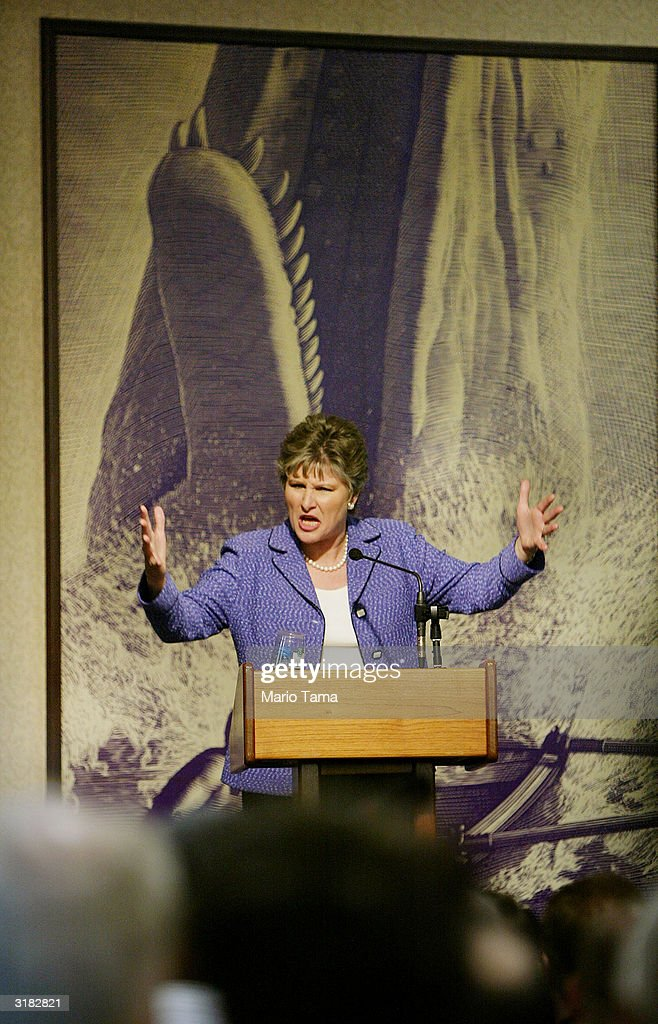 President George W Bush's longtime counselor Karen Hughes speaks about her new book 'Ten Minutes from Normal' March 31 2004 in New York City Hughes...