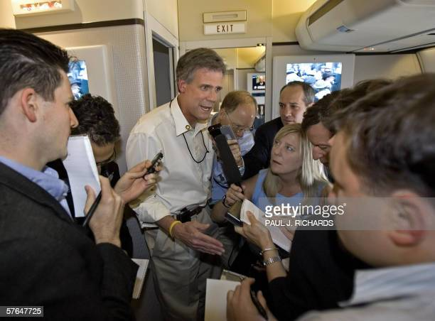 President George W Bush's spokesman White House Press Secretary Tony Snow updates the media traveling on Air Force One 18 May 2006 The President is...