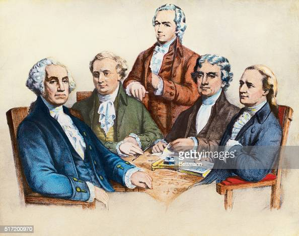 US President George Washington and his Cabinet Left to right Washington Henry Knox Secretary of the War Alexander Hamilton Secretary of the Treasury...
