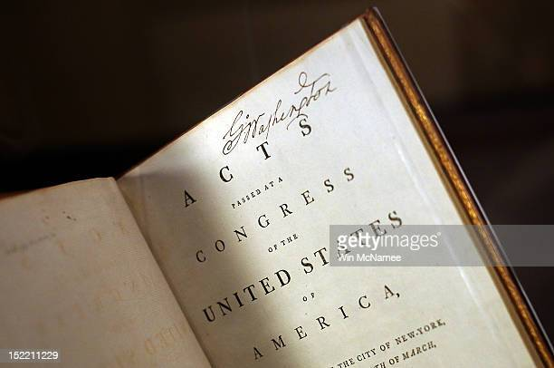 S President George Washington's personally annotated copy of the Acts of Congress is displayed on the 225th anniversary of the signing of the US...