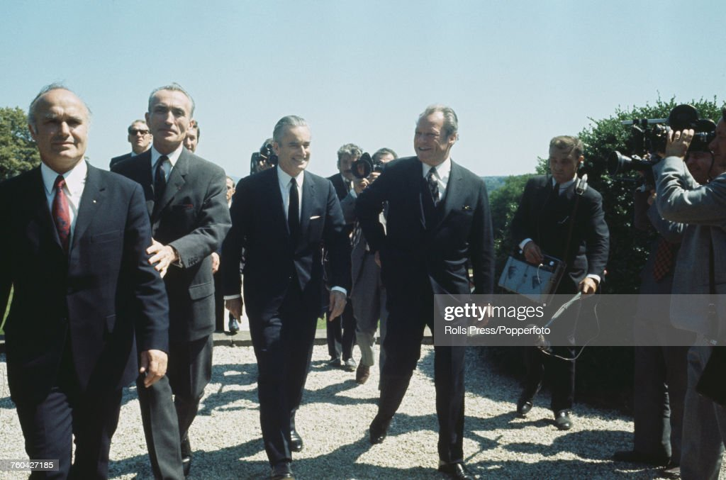 President Georges Pompidou of France (1911-1974) pictured 3rd from left with Chancellor of the Federal Republic of Germany Willy Brandt (1913-1992) during Franco-German summit talks in Mainz, West Germany on 7th July 1971.