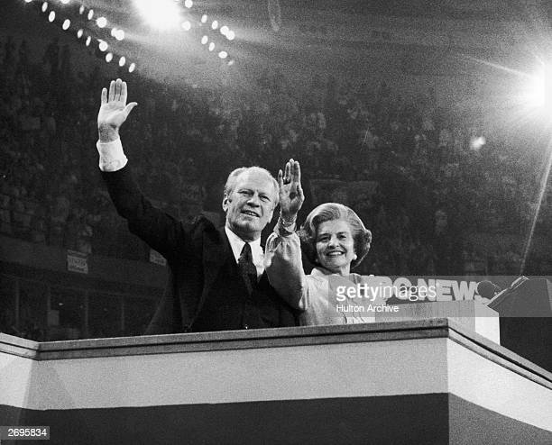 President Gerald Ford and his wifeFirst LadyBetty Ford wave to delegates at the Republican National Convention after he was nominated to run for a...