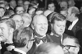 President Gerald Ford arrives to the cocktail reception of the National Football Foundation and College Hall of Fame Awards ceremony dinner