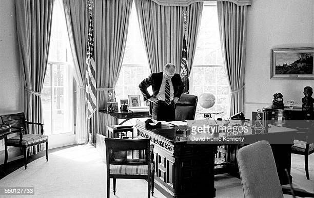President Gerald R Ford after meeting with Deputy National Security Advisor Brent Scowcroft US Ambassador to South Vietnam Graham Martin Army Chief...