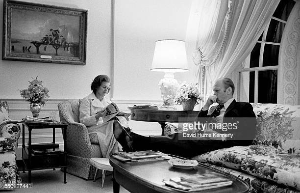 President Gerald R Ford and First Lady Betty Ford in the 2nd floor family quarters of the White House as he ponders his decision to order the final...