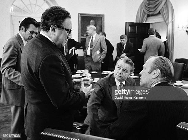 President Gerald R Ford and Secretary of State Henry Kissinger meet with Senator Robert Byrd in the Cabinet Room at the White House just before...