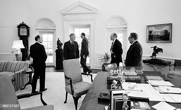 President Gerald R Ford meets with Deputy National Security Advisor Brent Scowcroft US Ambassador to South Vietnam Graham Martin Army Chief of Staff...