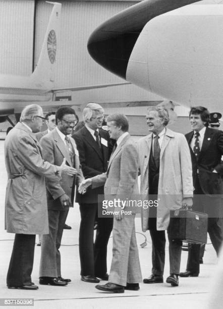 President Gets Colorado Greeting Shortly after Air Force One landed at Stapleton international Airport Saturday President Jimmy Carter was greeted by...