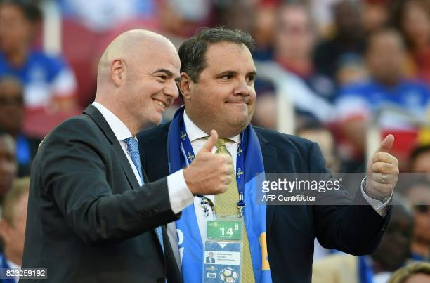 President Gianni Infantino and CONCACAF President Victor Montagliani pose for a photo before the final football game of the 2017 CONCACAF Gold Cup...