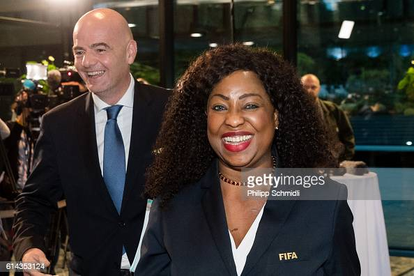 President Gianni Infantino and FIFA Secretary General Fatma Samoura leave a press conference after part I of the FIFA Council Meeting 2016 at the...