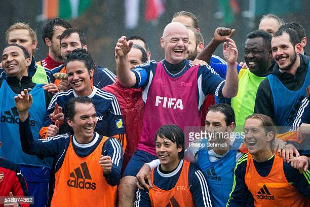 President Gianni Infantino and his teammates pose for a photo after a FIFA Team Friendly Football Match at the FIFA headquarters on February 29 2016...
