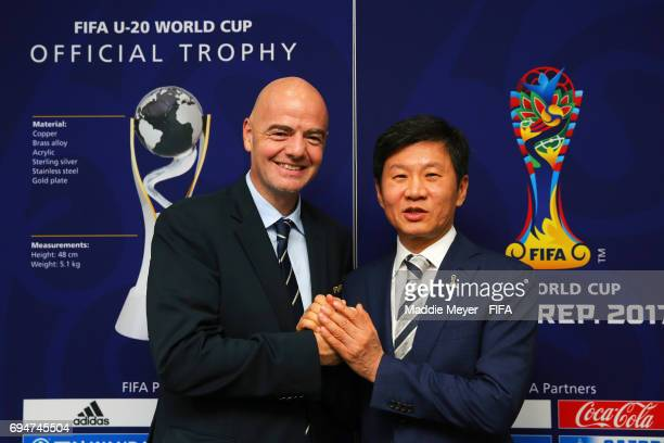 President Gianni Infantino and LOC Chairman Chung Monggyu stand for a photo during the FIFA U20 World Cup Korea Republic 2017 at Suwon World Cup...