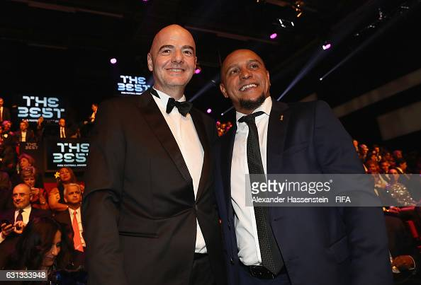 President Gianni Infantino and Roberto Carlos of Brazil pose prior to The Best FIFA Football Awards at TPC Studio on January 9 2017 in Zurich...