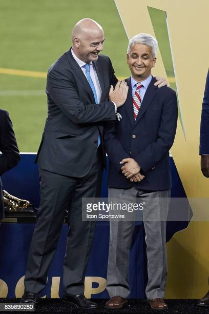 FIFA president Gianni Infantino and United States soccer federation president Sunil Gulati chat during the CONCACAF Gold Cup Final match between the...