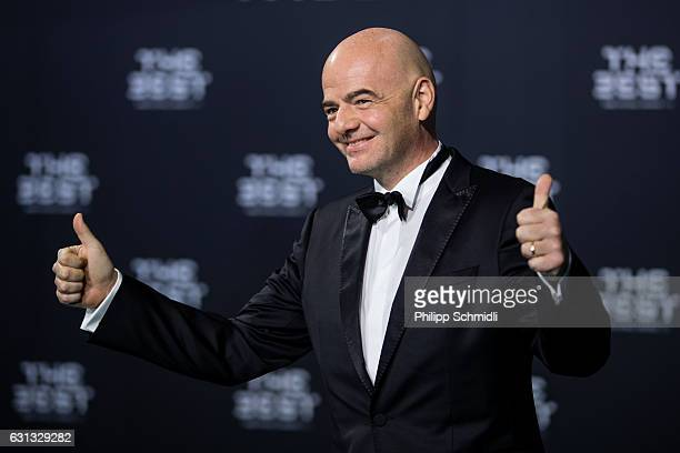 FIFA president Gianni Infantino arrives for The Best FIFA Football Awards 2016 on January 9 2017 in Zurich Switzerland