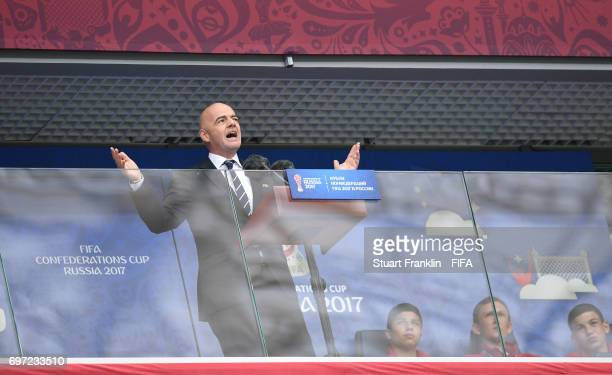 President Gianni Infantino delievers his speech at the FIFA Confederations Cup Group A match between Russia and New Zealand at Saint Petersburg...