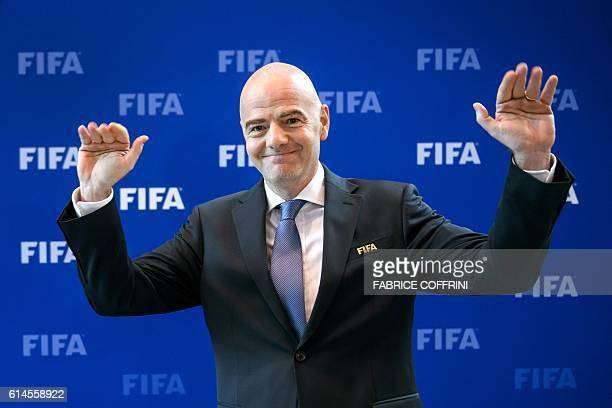 FIFA president Gianni Infantino gestures after a meeting of the FIFA Council on October 14 2016 at the world football's governing body headquarters...