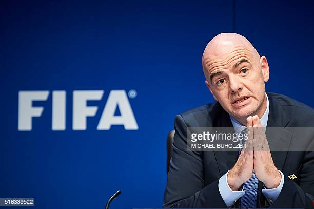 President Gianni Infantino gives a press conference following an executive meeting of the world football governing body at its headquarters on March...
