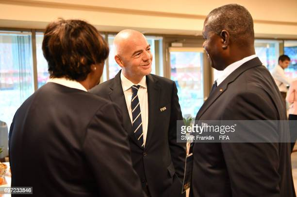 President Gianni Infantino greets guests at the FIFA Confederations Cup Group A match between Russia and New Zealand at Saint Petersburg Stadium on...