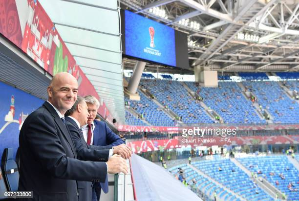 President Gianni Infantino looks on at the FIFA Confederations Cup Group A match between Russia and New Zealand at Saint Petersburg Stadium on June...