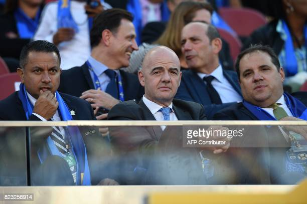 President Gianni Infantino looks on before the final football game of the 2017 CONCACAF Gold Cup against Jamaica at the Levi's Stadium in Santa Clara...