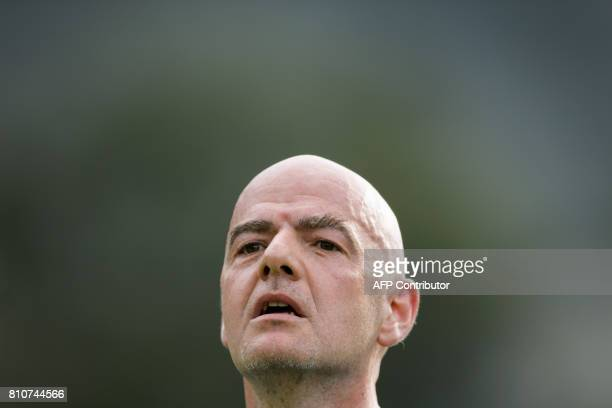 President Gianni Infantino looks on during 'The Gianni's game the match of legends' a football match with football legends in honour of FIFA...