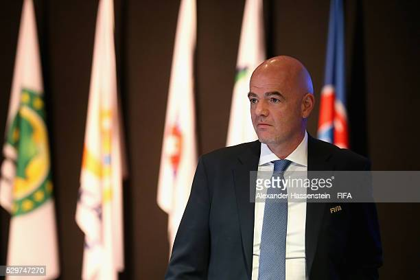 President Gianni Infantino looks on prior to the the FIFA Council meeting ahead of the 66th FIFA Congress at Presidente InterContinental Hotel Mexico...