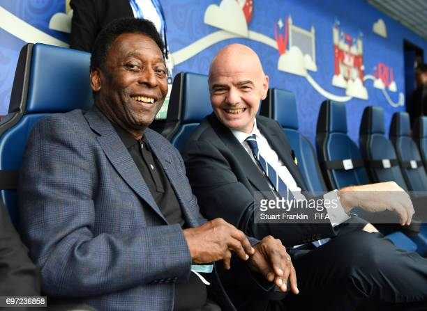 President Gianni Infantino ltalks with football legend Pele at the FIFA Confederations Cup Group A match between Russia and New Zealand at Saint...