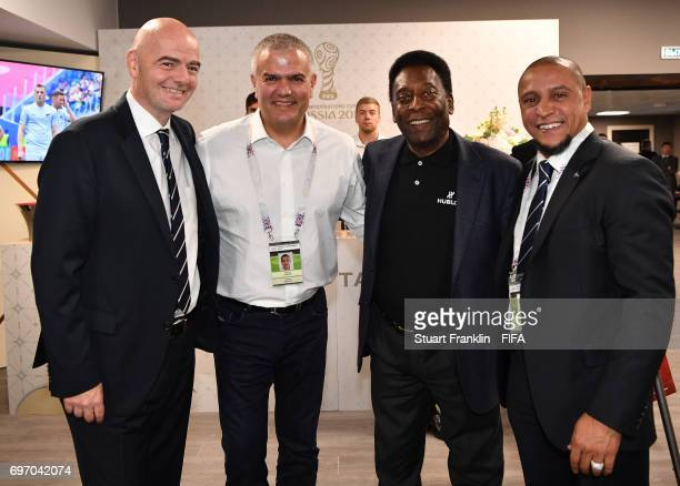 FIFA president Gianni Infantino meets with Brazilian football legends Pele and Roberto Carlos prior to the FIFA Confederations Cup Group A match...