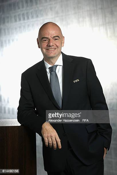 President Gianni Infantino poses during a Portrait session at the FIFA headquaters on October 14 2016 in Zurich Switzerland