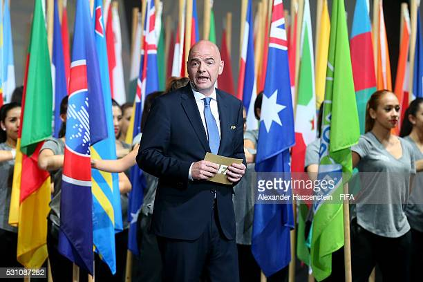 President Gianni Infantino speaks at the Opening Ceremony for the 66th FIFA Congress at National Auditorium Mexico on May 12 2016 in Mexico City